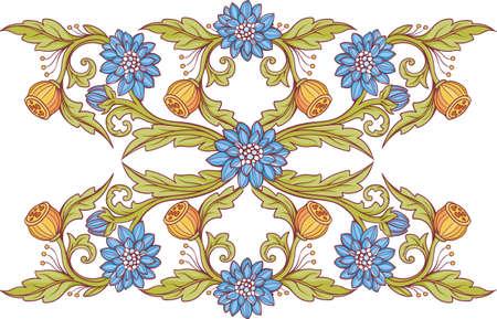 Floral decorative elements with blue flowers. 2.