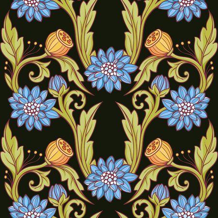 Floral pattern. Blue and green, black background illustration.  イラスト・ベクター素材