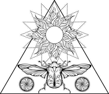 Mystic bug with the sun symbol.  イラスト・ベクター素材