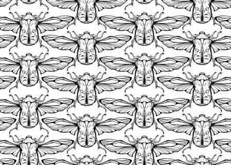 Seamless pattern of flying bugs illustration. Black and white.
