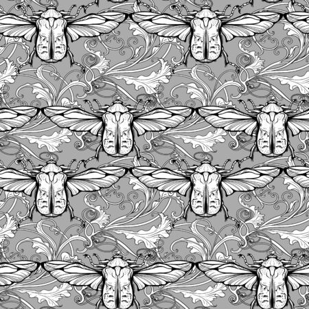 Seamless pattern of flying bugs with floral background.
