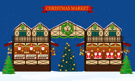 Image of christmas fair trading stall with banner. Flat style.  イラスト・ベクター素材