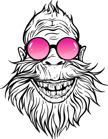Yeti in rose round sunglasses illustration. 일러스트