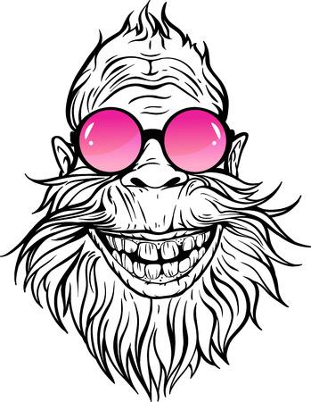 Yeti in rose round sunglasses illustration. Vectores