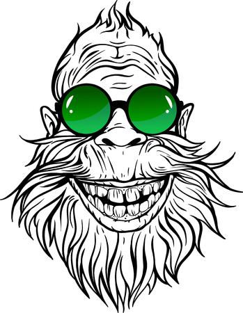 Yeti in green round sunglasses illustration.  イラスト・ベクター素材
