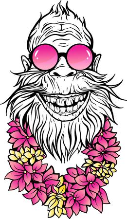 Yeti in sunglasses and Hawaiian lei illustration. Vectores