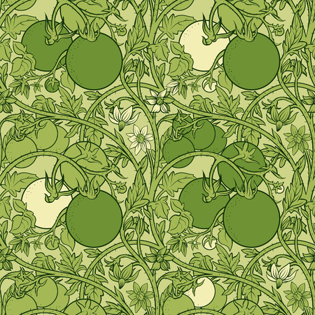 pattern of tomato branch in a garden. Green and white.