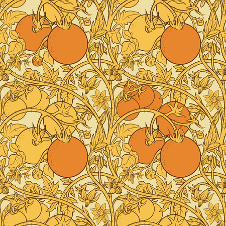 pattern of tomato branch in a garden. Orange and white.  イラスト・ベクター素材
