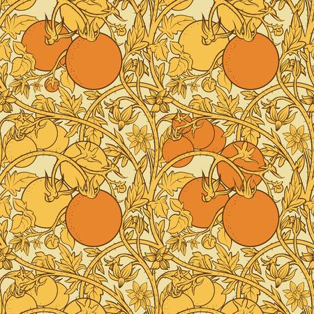 pattern of tomato branch in a garden. Orange and white. Фото со стока - 100775073