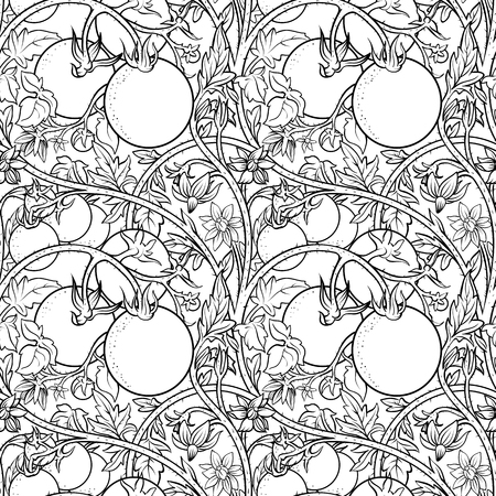 pattern of tomato branch in a garden. Black and white. Иллюстрация