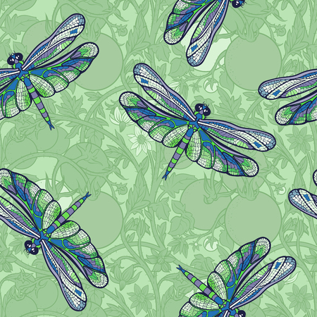pattern of dragonflies and tomato branches.