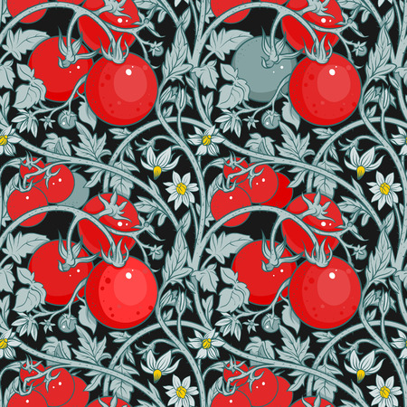 pattern of tomato branch in a garden. Red and black. Иллюстрация