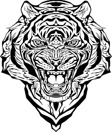 Image of an angry tiger. Isolated. Coloring page