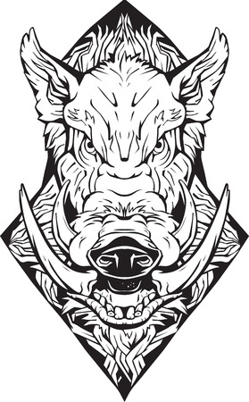 Image of an angry boar. Isolated. Coloring page