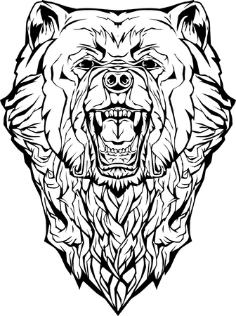 Image of an angry bear. Isolated. Coloring page
