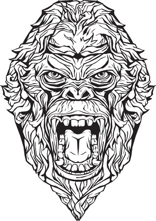 Image of an angry gorilla. Isolated. Coloring page