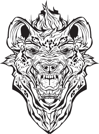 Image of an angry hyena. Isolated. Coloring page Illustration