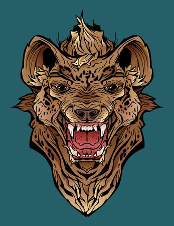 Isolated colorful image of an angry hyena. Фото со стока - 109850023