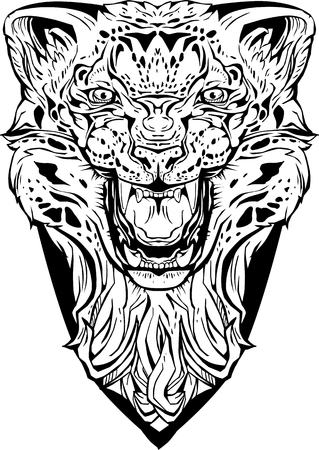 Image of an angry leopard. Isolated. Coloring page