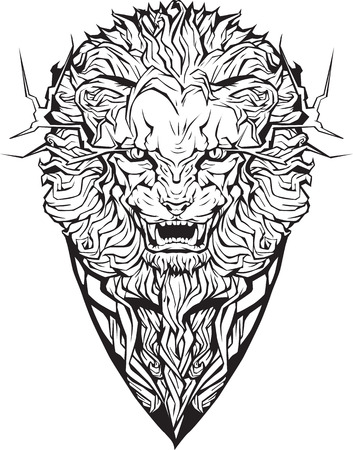Image of an angry lion. Isolated. Coloring page