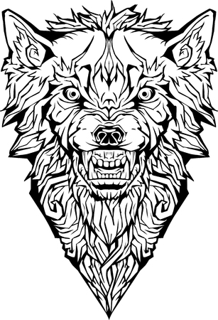 Image of an angry wolf. Isolated. Coloring page Иллюстрация