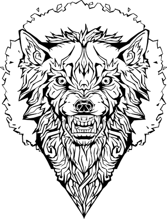 Image of an angry wolf in a frame. Isolated. Coloring page.