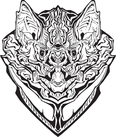 Image of an angry bat. Isolated. Coloring page