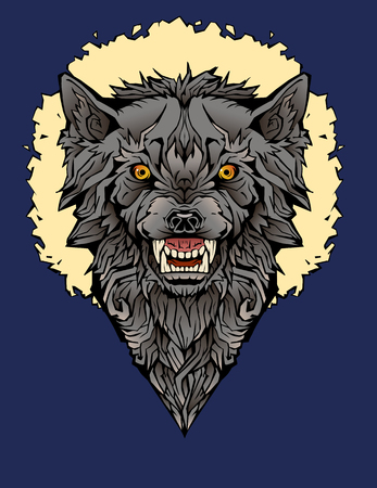 colorful image of an angry wolf in a frame.