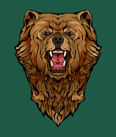 colorful image of an angry bear.