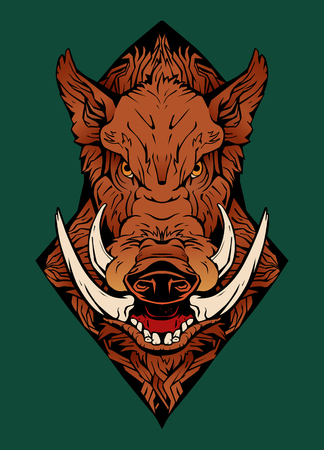 colorful image of an angry boar.