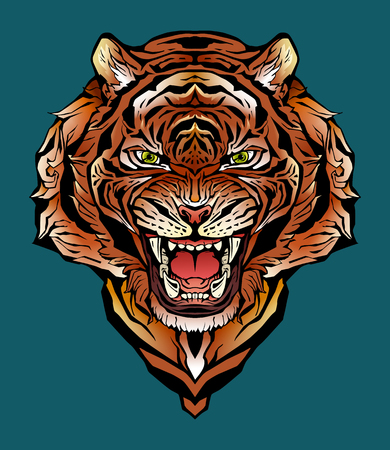 Isolated colorful image of an angry tiger. Vectores