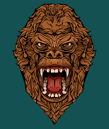 Isolated colorful image of an angry gorilla.