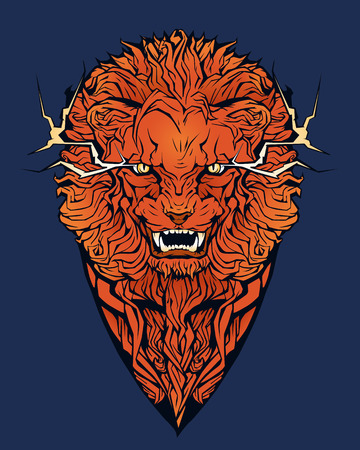 Isolated colorful image of an angry lion.