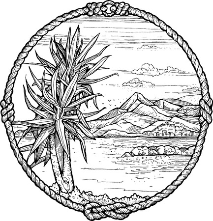Framed drawing of meditteranean coast with a palm tree. Black and white. 일러스트