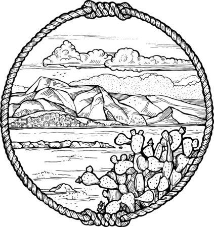 Framed drawing of meditteranean coast with a cactus. Vectores