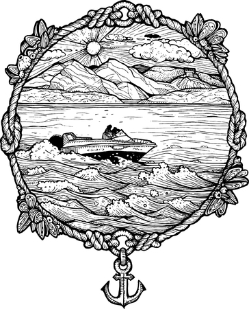 Framed drawing of a boat rushing through waves. Black and white.