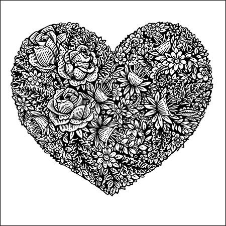 heart made of leaves and roses.