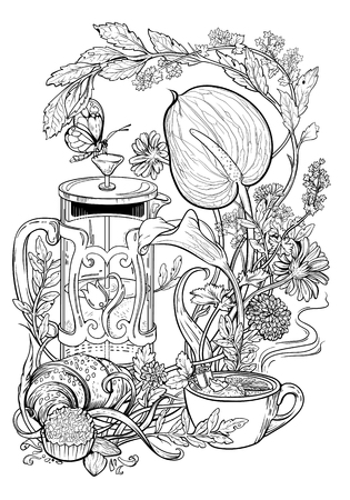 Drawing of tea, croissant, flowers and herbs. Coloring page