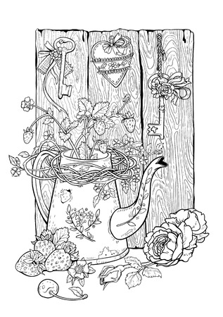Drawing of flower pot, berries and flowers with rural decor. Coloring page.