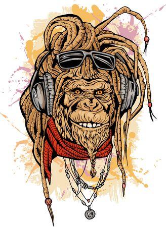 Portarit di club DJ rasta mokey con colore