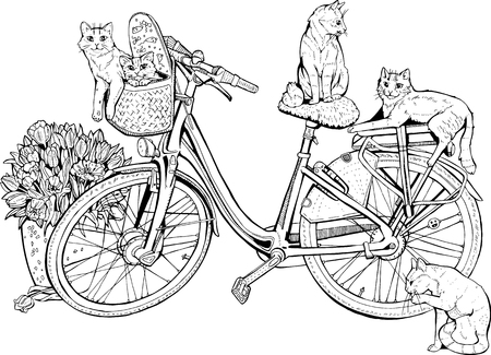 Vintage bicycle with cats and flowers. Vectores