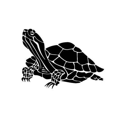 dessinés à la main illustration de tortue. silhouette noire de tortue.