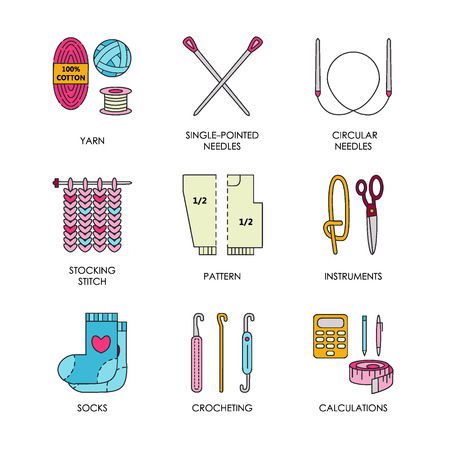 Knitting. Modern line icons set of knitting and crochet. Knitting elements: yarn, knitting needle, knitting hook, pin and others. Outline knitting symbol collection invitations, notes, messages Vectores