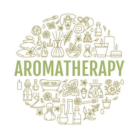 Aromatherapie en essentiële oliën brochure sjabloon. Stockfoto - 62522124