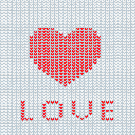 Knitting Is Love Knitted Heart Symbol Modern Vector Knitting