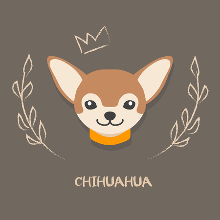 chihuahua puppy: Funny chihuahua vector illustration. Cute cartoon portrait of a dog for decoration and design Illustration