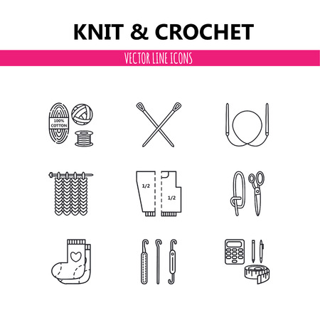 Modern vector line icons set of knitting and crochet elements - yarn, knitting needle, knitting hook, pin and others. Outline symbol collection.