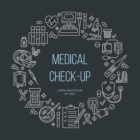 medical center: Medical poster template. Vector line icon, illustration of medical center, health check up. Medical equipment - mri, cardiogram, glucometer, doctor, ultrasound, blood test. Healthcare banner design