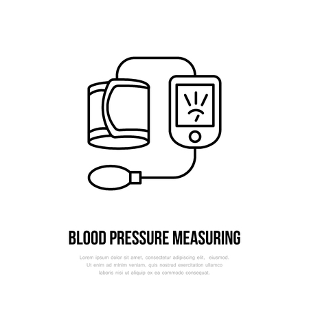 Vector thin line icon of blood pressure measurement. Hospital, clinic linear logo. Outline tonometer symbol, medical equipment. High blood examination. Design element, medical logotype