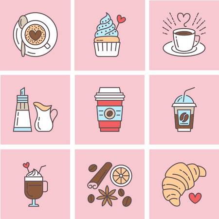 espresso cup: Cute vector line icons of coffee. Elements - espresso cup, milk sugar croissant, hot drinks, cupcake, latte, cinnamon. Linear restaurant, shop pictogram for menu, cartoon illustration